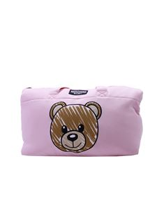 Moschino Kids - Mother's bag in pink cotton with Teddy print