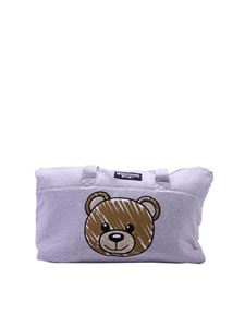 Moschino Kids - Mother's bag in grey cotton with Teddy print
