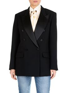 MSGM - Black double-breasted jacket with satin lapels