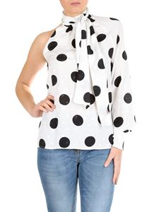 MSGM - One-shoulder blouse in white with polka dot print