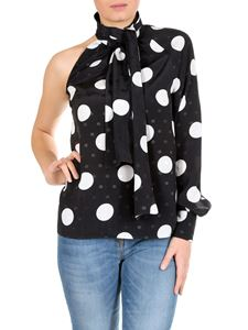 MSGM - One-shoulder blouse in black with polka dot print