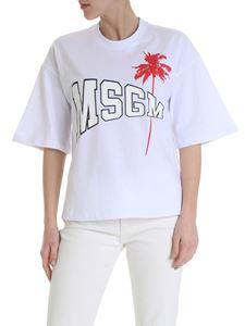 MSGM - Oversized t-shirt in white with palm print