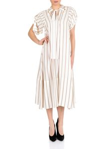 Chloé - Beige and brown striped silk dress