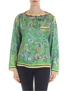Philosophy di Lorenzo Serafini - Green blouse with paisley print