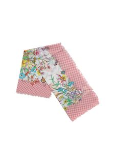 Gucci - Pink scarf with flowers and butterflies print