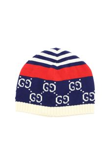 Gucci - GG blue and red cotton beanie
