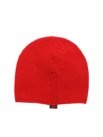 47df2aab75b4d Gucci Spring Summer 2019 red wool beanie with inner logo - 459431 ...