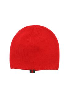 Gucci - Red wool beanie with inner logo