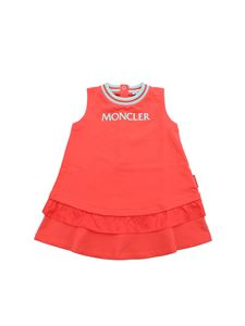 Moncler Jr - Moncler dress in coral red with ruffled bottom