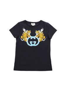 Gucci - Grey T-shirt with GG and tiger print