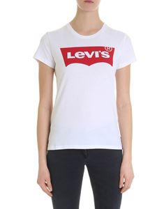 Levi's - White crew-neck t-shirt with red logo print