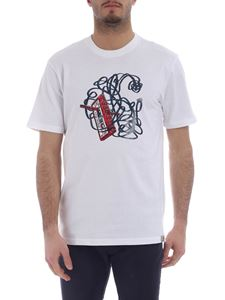 Carhartt - White round-neck T-shirt with red and blue print