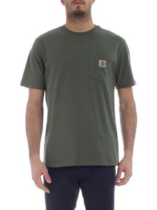 Carhartt - Crew neck t-shirt in olive-green with logo