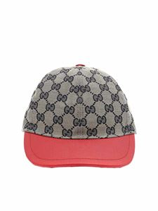 Gucci - Gucci blue and beige hat with red details