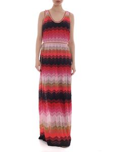 M Missoni - Long chevron dress in shades of red