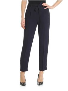 Peserico - Blue trousers with waist ribbon