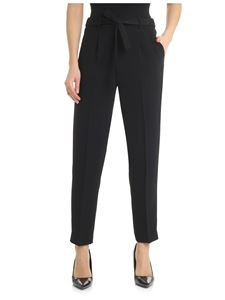 Peserico - Black trousers with waist ribbon