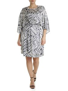 Peserico - Blue and white geometric printed satin dress