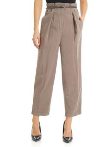 Peserico - Brown trousers with eyelets and belt