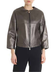 Peserico - Brown laminated leather jacket