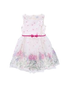 Monnalisa - White tulle dress with petals and roses print
