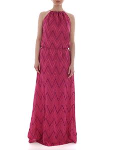 M Missoni - Long sleeveless dress in shades of fuchsia lamé