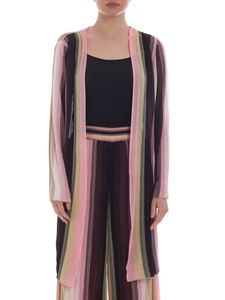 M Missoni - Striped motif cardigan in shades of pink