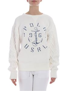 POLO Ralph Lauren - White sweatshirt with knitted sleeves