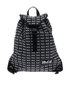 McQ Alexander Mcqueen - Black backpack with white MCQ logo print