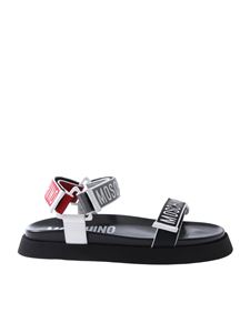 Moschino - Black sandals with multicolor branded straps