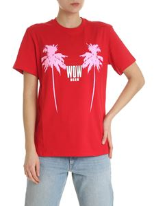 MSGM - Red MSGM t-shirt with pink palms