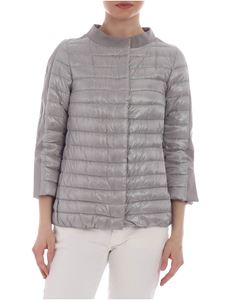 Herno - Beige quilted down jacket with three-quarter sleeves