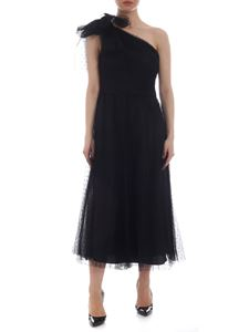 Red Valentino - Black plumetis midi dress with bow embellishment
