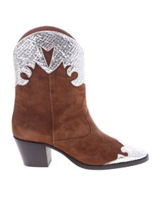 Paris Texas - Brown pointed ankle boots with silver details