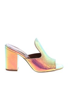 Paris Texas - Iridescent silver sandals with wrinkled effect