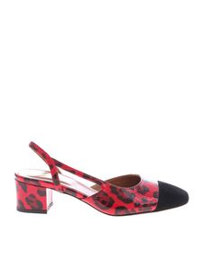 Paris Texas - Red and black animalier slingback pumps