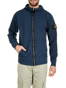 Stone Island - Blue sweatshirt with zip and logo