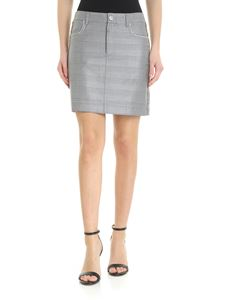 Ganni - Grey prince of wales skirt with rhinestones embellishment