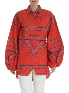 Ganni - Red blouse with contrasting print