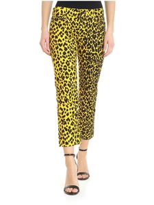 R13 - Yellow Joey jeans with black animal print