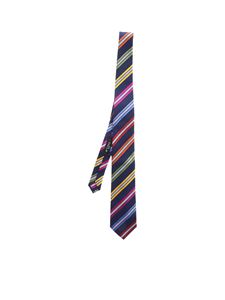 Etro - Blue tie with colored stripes