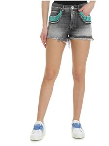 Alanui - Native American style black denim shorts