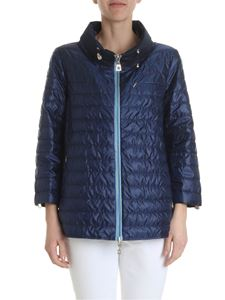 Diego M - Blue quilted blue down jacket