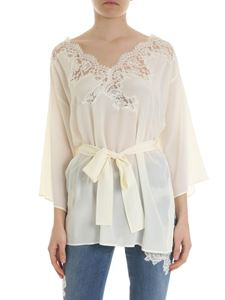 Ermanno by Ermanno Scervino - Cream-colored silk blouse with lace detail