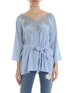 Ermanno by Ermanno Scervino - Light blue silk blouse with lace detail