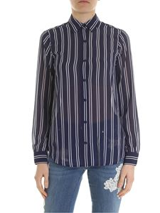 Michael Kors - Striped blue and white crepe shirt