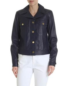 Michael Kors - Blue leather jacket with pockets