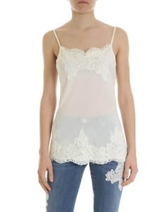 Ermanno by Ermanno Scervino - Cream-colored silk top with lace details