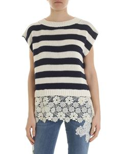 Ermanno by Ermanno Scervino - Striped sleeveless pullover with lace details