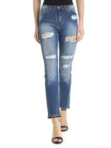 Blugirl - High waisted jeans with rhinestones